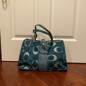 Brand new silver/teal Coach purse
